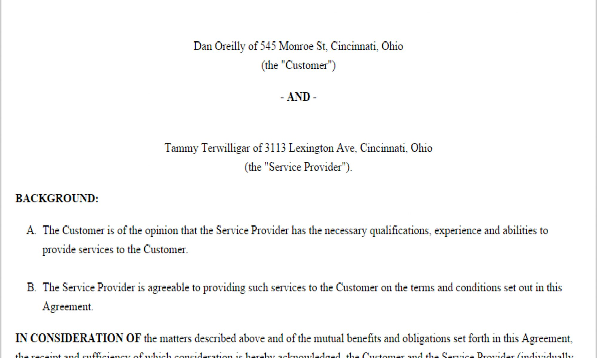 Service Contract Template | Business & Sales Agreement | Paper ...