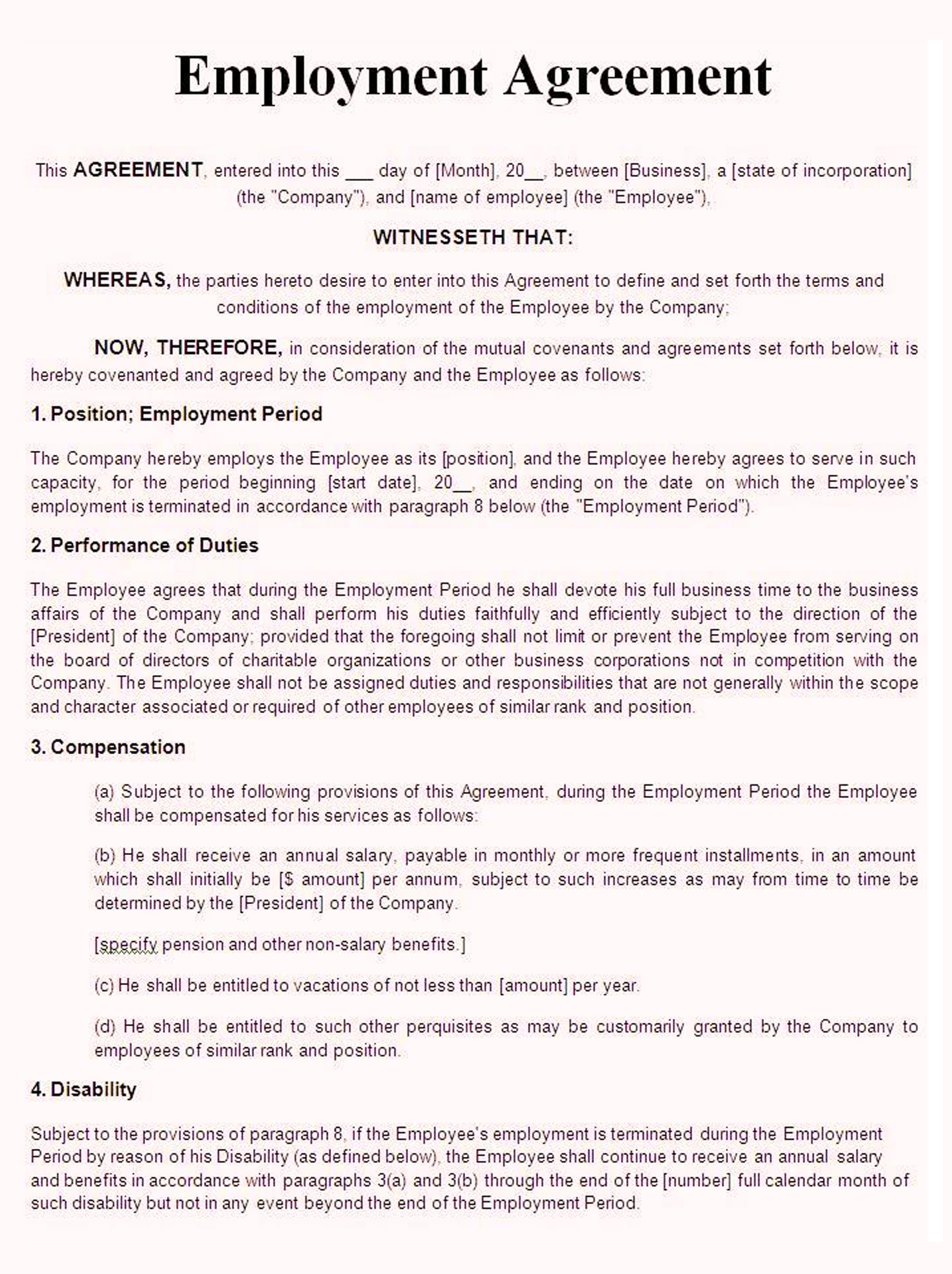 service employment contract template word