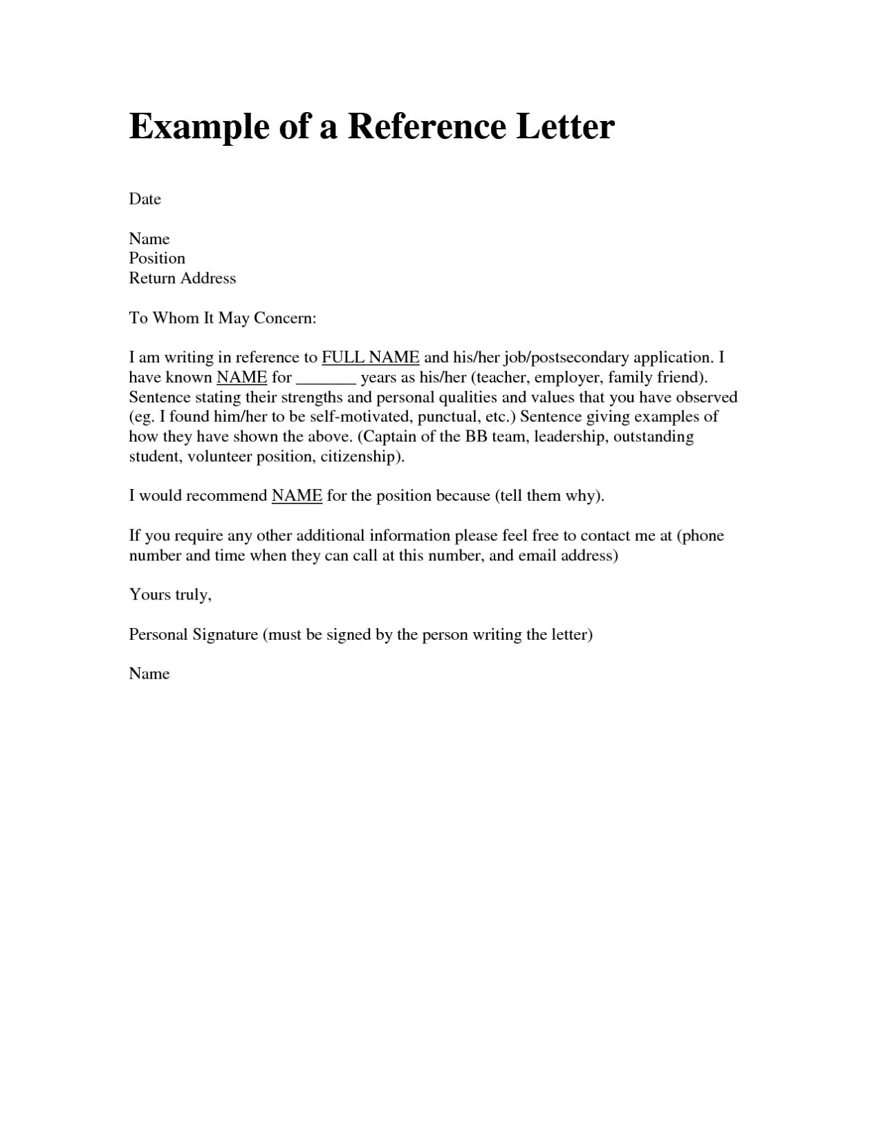letter of reference template recommendation letter sample format template paper 23064