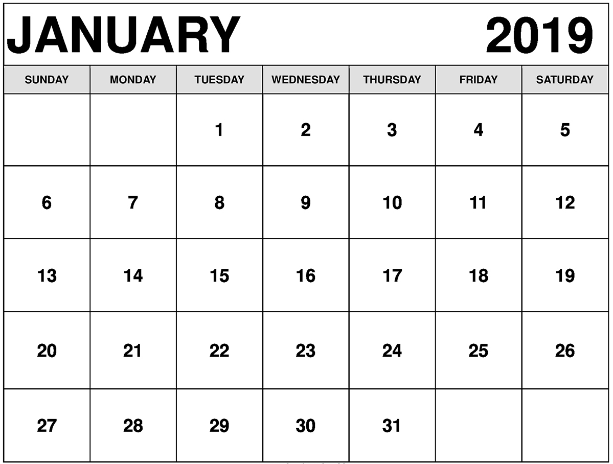 January Calendar for 2019 Printable
